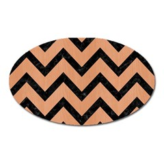 Chevron9 Black Marble & Natural Red Birch Wood (r) Oval Magnet by trendistuff