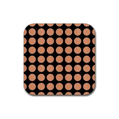 Circles1 Black Marble & Natural Red Birch Wood Rubber Coaster (square)  by trendistuff