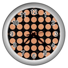 Circles1 Black Marble & Natural Red Birch Wood Wall Clocks (silver)  by trendistuff