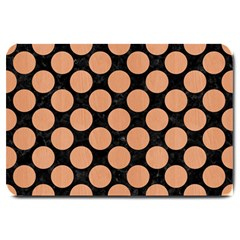 Circles2 Black Marble & Natural Red Birch Wood Large Doormat