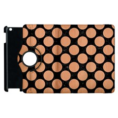 Circles2 Black Marble & Natural Red Birch Wood Apple Ipad 2 Flip 360 Case by trendistuff