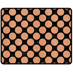 Circles2 Black Marble & Natural Red Birch Wood Double Sided Fleece Blanket (medium)  by trendistuff