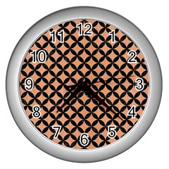 Circles3 Black Marble & Natural Red Birch Wood (r) Wall Clocks (silver)  by trendistuff