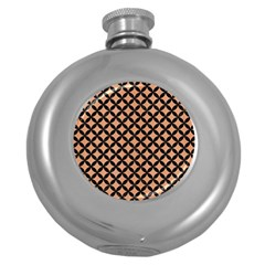 Circles3 Black Marble & Natural Red Birch Wood (r) Round Hip Flask (5 Oz) by trendistuff