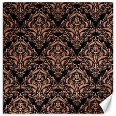 Damask1 Black Marble & Natural Red Birch Wood Canvas 16  X 16   by trendistuff