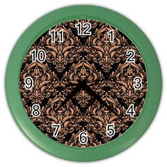 Damask1 Black Marble & Natural Red Birch Wood Color Wall Clocks by trendistuff