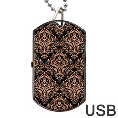 Damask1 Black Marble & Natural Red Birch Wood Dog Tag Usb Flash (two Sides) by trendistuff