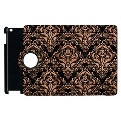 Damask1 Black Marble & Natural Red Birch Wood Apple Ipad 3/4 Flip 360 Case by trendistuff