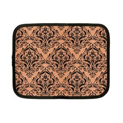 Damask1 Black Marble & Natural Red Birch Wood (r) Netbook Case (small)  by trendistuff