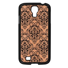 Damask1 Black Marble & Natural Red Birch Wood (r) Samsung Galaxy S4 I9500/ I9505 Case (black)