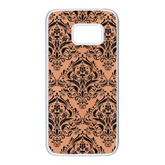 Damask1 Black Marble & Natural Red Birch Wood (r) Samsung Galaxy S7 White Seamless Case