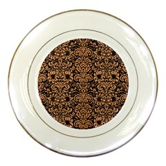 Damask2 Black Marble & Natural Red Birch Wood Porcelain Plates by trendistuff
