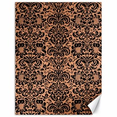 Damask2 Black Marble & Natural Red Birch Wood (r) Canvas 18  X 24   by trendistuff