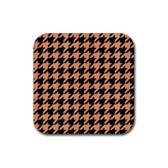 Houndstooth1 Black Marble & Natural Red Birch Wood Rubber Square Coaster (4 Pack)  by trendistuff