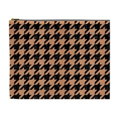 Houndstooth1 Black Marble & Natural Red Birch Wood Cosmetic Bag (xl) by trendistuff