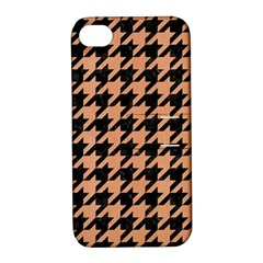Houndstooth1 Black Marble & Natural Red Birch Wood Apple Iphone 4/4s Hardshell Case With Stand by trendistuff