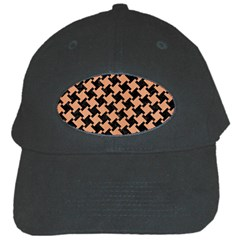 Houndstooth2 Black Marble & Natural Red Birch Wood Black Cap
