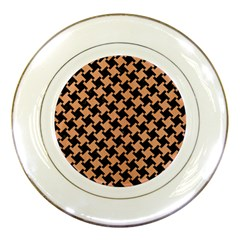 Houndstooth2 Black Marble & Natural Red Birch Wood Porcelain Plates by trendistuff