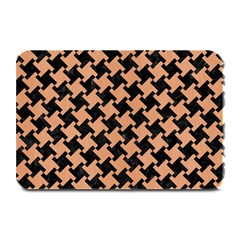 Houndstooth2 Black Marble & Natural Red Birch Wood Plate Mats by trendistuff