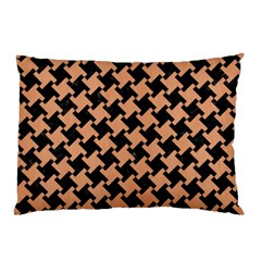 Houndstooth2 Black Marble & Natural Red Birch Wood Pillow Case by trendistuff