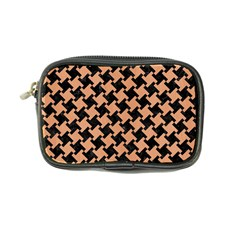 Houndstooth2 Black Marble & Natural Red Birch Wood Coin Purse by trendistuff