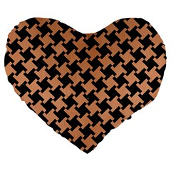 Houndstooth2 Black Marble & Natural Red Birch Wood Large 19  Premium Heart Shape Cushions by trendistuff