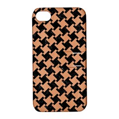 Houndstooth2 Black Marble & Natural Red Birch Wood Apple Iphone 4/4s Hardshell Case With Stand by trendistuff