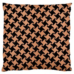 Houndstooth2 Black Marble & Natural Red Birch Wood Standard Flano Cushion Case (two Sides) by trendistuff