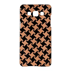 Houndstooth2 Black Marble & Natural Red Birch Wood Samsung Galaxy A5 Hardshell Case  by trendistuff