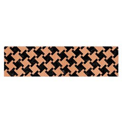 Houndstooth2 Black Marble & Natural Red Birch Wood Satin Scarf (oblong)