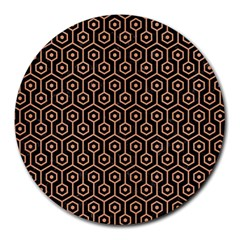 Hexagon1 Black Marble & Natural Red Birch Wood Round Mousepads by trendistuff