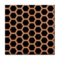 Hexagon2 Black Marble & Natural Red Birch Wood Tile Coasters by trendistuff