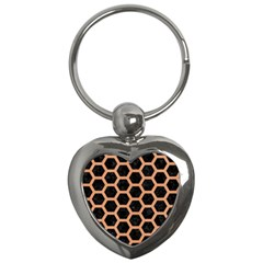 Hexagon2 Black Marble & Natural Red Birch Wood Key Chains (heart)  by trendistuff