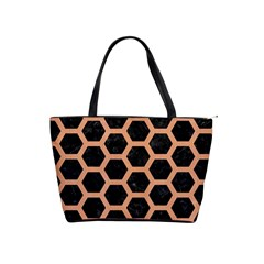 Hexagon2 Black Marble & Natural Red Birch Wood Shoulder Handbags by trendistuff