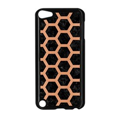 Hexagon2 Black Marble & Natural Red Birch Wood Apple Ipod Touch 5 Case (black) by trendistuff