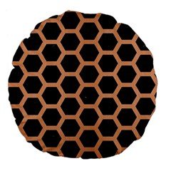 Hexagon2 Black Marble & Natural Red Birch Wood Large 18  Premium Flano Round Cushions by trendistuff