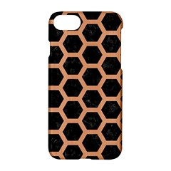 Hexagon2 Black Marble & Natural Red Birch Wood Apple Iphone 7 Hardshell Case by trendistuff