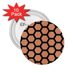 Hexagon2 Black Marble & Natural Red Birch Wood (r) 2 25  Buttons (10 Pack)  by trendistuff