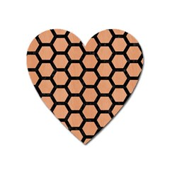 Hexagon2 Black Marble & Natural Red Birch Wood (r) Heart Magnet by trendistuff