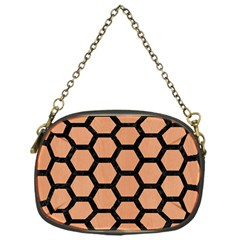 Hexagon2 Black Marble & Natural Red Birch Wood (r) Chain Purses (one Side)  by trendistuff
