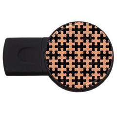 Puzzle1 Black Marble & Natural Red Birch Wood Usb Flash Drive Round (2 Gb)