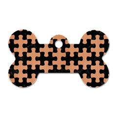 Puzzle1 Black Marble & Natural Red Birch Wood Dog Tag Bone (one Side) by trendistuff