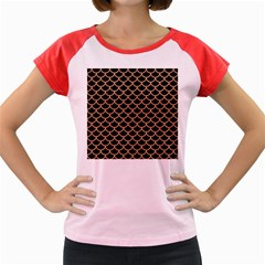 Scales1 Black Marble & Natural Red Birch Wood Women s Cap Sleeve T Shirt