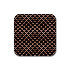 Scales1 Black Marble & Natural Red Birch Wood Rubber Square Coaster (4 Pack)