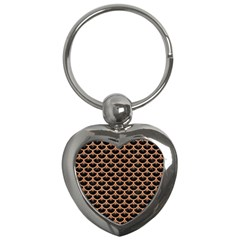 Scales3 Black Marble & Natural Red Birch Wood Key Chains (heart)  by trendistuff