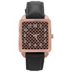 Scales3 Black Marble & Natural Red Birch Wood Rose Gold Leather Watch  by trendistuff