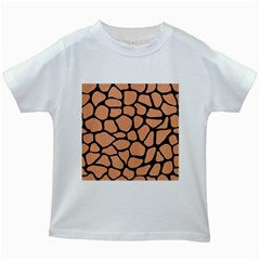 Skin1 Black Marble & Natural Red Birch Wood Kids White T Shirts by trendistuff