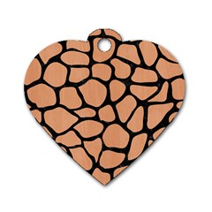 Skin1 Black Marble & Natural Red Birch Wood Dog Tag Heart (one Side) by trendistuff