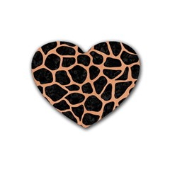 Skin1 Black Marble & Natural Red Birch Wood (r) Rubber Coaster (heart)  by trendistuff