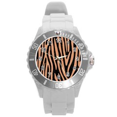 Skin4 Black Marble & Natural Red Birch Wood (r) Round Plastic Sport Watch (l) by trendistuff